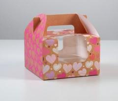 """Коробка для капкейков (4 капкейка)""""Моя к тебе любовь""""*"""