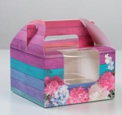 Коробка на 4 капкейка «Для души», 16×16×10 см