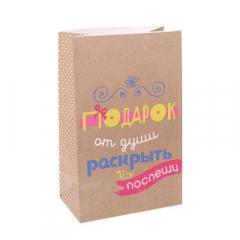 """Пакет подарочный без ручек """"Подарок от души"""",12 х 19 х 7см"""