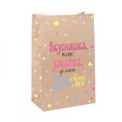 """Пакет подарочный без ручек """"Любимые вкусности"""",12 х 19 х 7см"""