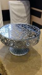 Аренда подставки под десерты на ножке Ажур серебро