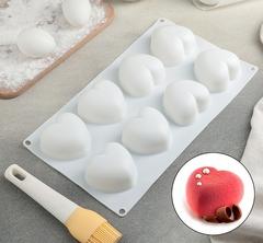 """Форма д/выпечки и мус.десертов, 8 ячеек, 30х17,5х3 см """"Сердца"""",цвет белый"""